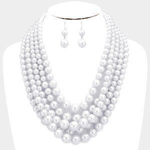 Rhodium and White 5row Strand Pearl Necklace